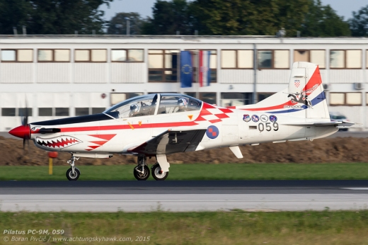 The 1 August practice run had also included an appearance by the PC-9, transferred - like the Zlins - from Zadar to Zagreb for the duration of the parade. Nicknamed