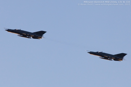 Sometimes staying away from the epicenter of events can be a good thing. Saluting Lučko along the way, 131 and 132 are seen swinging back towards Pleso as the second of three pairs participating in the final flypast...
