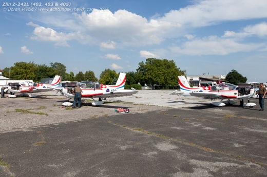 Three very welcome visitors - and the only airplanes to be based at Lučko - being checked out by ground staff prior to their participation in the general rehearsal on 2 August. Likely visiting the airfield for the first time, 402, 403 and 405 are normally based at Zemunik, and are - along with two other Z-242s - used for initial pilot training.