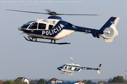 The old and the new on approach to the Police helipad after their participation in the parade. Despite having been in country for two years now, the EC-135s are still a novel sight, and are often participants to every aerial event the Police is invited to. Despite their modern, gleaming looks, they are still often outshone by the old Bells, all of which had previously served with the the prewar Yugoslav Police - and in many cases, in front line service during the war.