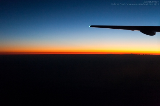 A snap I'd borrowed from a previous post - but one I just couldn't leave out. Saluting the setting sun on another beautiful, calm and crisp summer evening. Traversing southbound above the Northern Adriatic Sea – just off Pula Airport (PUY/LDPL) – we were treated to this fantastic view by a large high pressure area that had been parked over the region for several days…