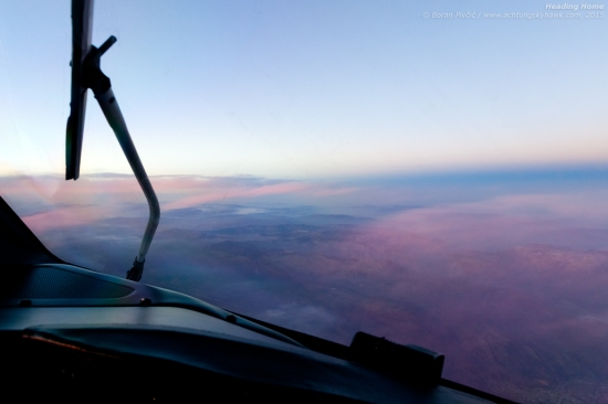 """Having covered everything from the Baltic to the Adriatic in one day - flying across eight countries in two legs - we prepare to bid the final day of 2015 goodbye as we race the sun on our way back to base... of interest, many will note that in most shots taken from the cockpit the wipers will be parked in the upright position. While their normal """"resting stance"""" is horizontal and outside the field of view of the crew, in that position they cause quite a bit of wind noise - up to 5 dB according to unofficial measurements - leading most crews to park them vertically during cruise."""