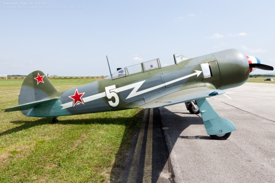 A profile only Father Yakovlev could love. Note also the mixed construction: wood for the front fuselage (minus the cowl) and fabric for the rear, both on top of a steel frame. The wing, however, is metal in and out, with only the control surfaces covered in fabric.