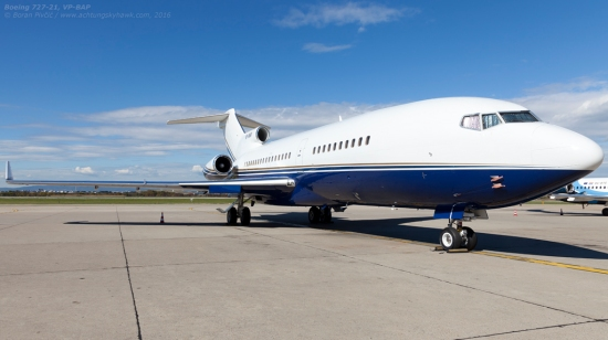 It takes a lot of imagination to believe that this aircraft is 49 years old - and that it had just made a non-stop hop from Canada. Like virtually all 727 bizjets, VP-BAP is clean to a fault... while its flight record suggests it may continue working well into its 60s.