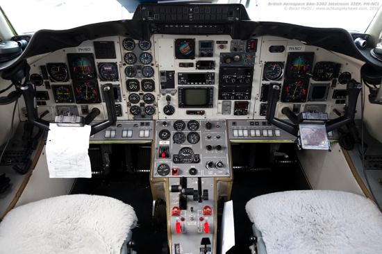 A peek into the nose of DCI's sister ship, NCI. Quite an anachronism in an age when even the smallest piston single has digital avionics, the cockpit of the Jetstream leaves little doubt that this is a 60s design. Alongside a somewhat unusual instrument layout on the center console, interesting details include a lone, basic IFR GPS, and the absence of even a cursory autopilot - a feature that some pilots despise, while others laud for the nowadays rare chance of experiencing