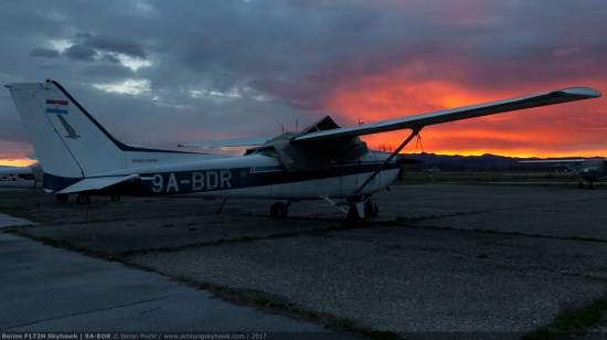 A suitably sombre shot as the sun sets once again on poor old BDR. One of the oldest light aircraft in Croatia (manufactured back in 1967), BDR has quite a local history, having been attached throughout its life to the AK Zagreb flying club - one of Croatia's oldest and (once) most respected aviation institutions. Having seen off generations and generations of young pilots - many of which had become the backbone of Yugoslavia's national carrier JAT - BDR had since become collateral damage of the club's financial woes and general infighting of the early 2000s, flying for the last time in 2003. Moved about from time to time (mostly when it gets in the way), it had been left neglected ever since, having been washed and TLC'd only once in 2009 by your's truly. Most of the time it has been left to die by weather, useful now only as a prop in an apocalyptic movie...